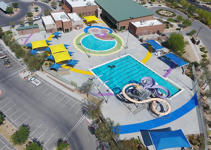 YMCA at Centennial Hills Community Center outdoor pool - bird's view
