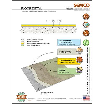 Floor Detail - X-Bond Seamless Stone Over Concrete