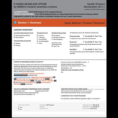 Health Product Declaration - X-Bond Seamless Stone