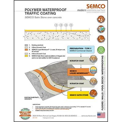 Polymer waterproof traffic coating detail