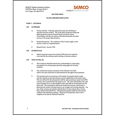 Section 09670 - Fluid Applied Surfaces